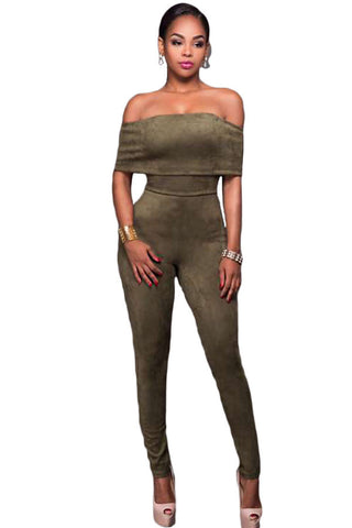 Olive Suede Like Off-the-shoulder Jumpsuit - Unmarked Style Clothing Store