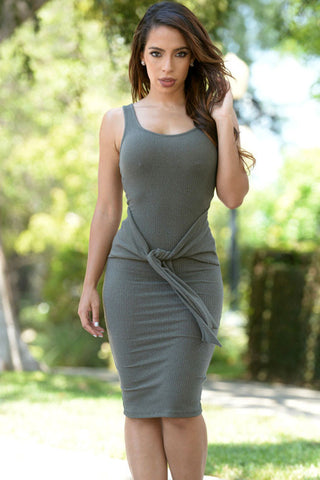 Olive Sleeveless Tie Front Bodycon Midi Dress - Unmarked Style Clothing Store