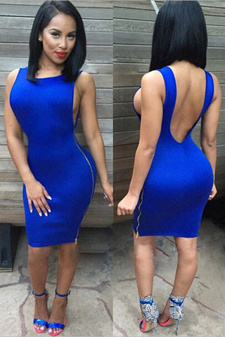 Royal Blue Armholes Backless Club Dress - Unmarked Style Clothing Store