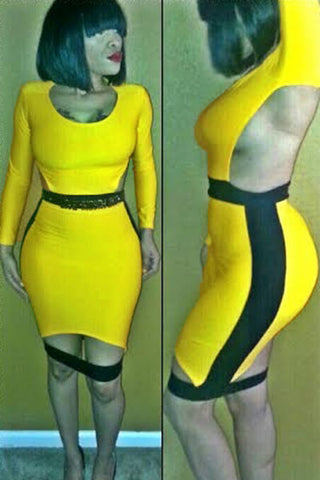 Yellow and Black Cutout Back Bodycon Dress with Slit - Unmarked Style Clothing Store