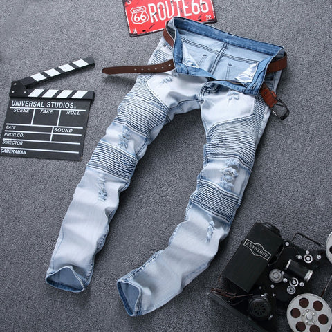 Biker Jeans Ripped Denim Slim Fit