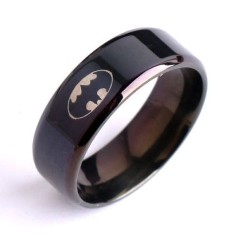 Batman Stainless Steel Black Ring
