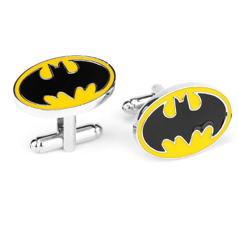 Batman Symbol with Yellow Cufflinks