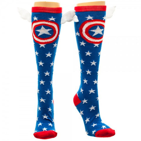 Captain America Star Knee High Socks with Wings