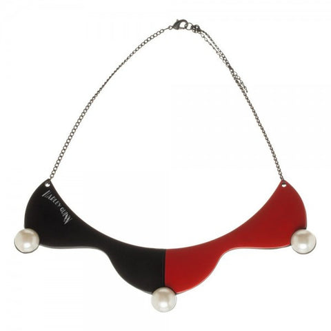 Harley Quinn Black and Red Collar Necklace with Pearls