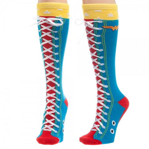Wonder Woman Women's Faux Lace Up Socks