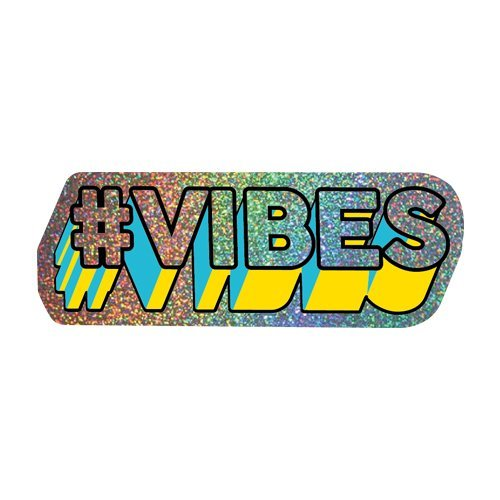 Vibes Hologram Sparkling Sticker 3 x 1 in