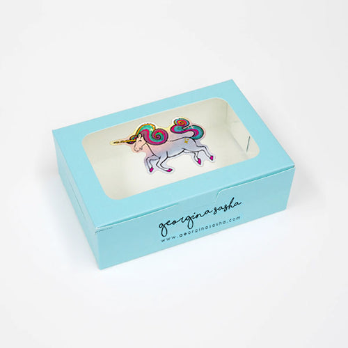 Small Unicorn Gift Box Baby Blue (4 x 6 x 2in)