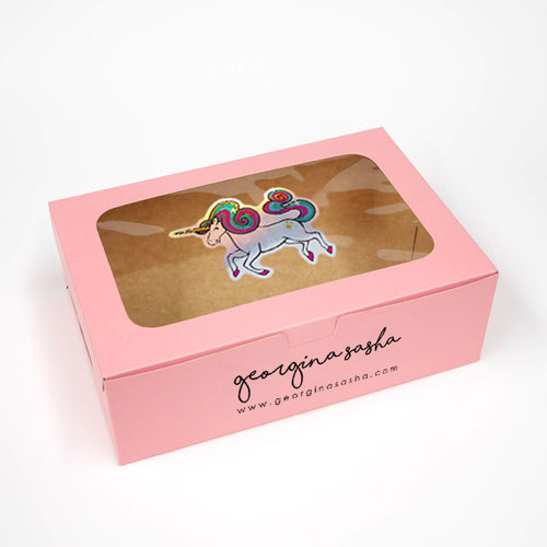 Big Unicorn Gift Box Pink (6 x 9 x 3in)