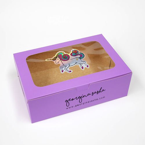 Big Unicorn Gift Box Purple (6 x 9 x 3in)