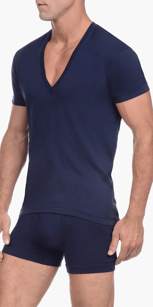 2(x)ist 3104104101 Pima Cotton Slim Fit Deep V-neck T-shirt navy