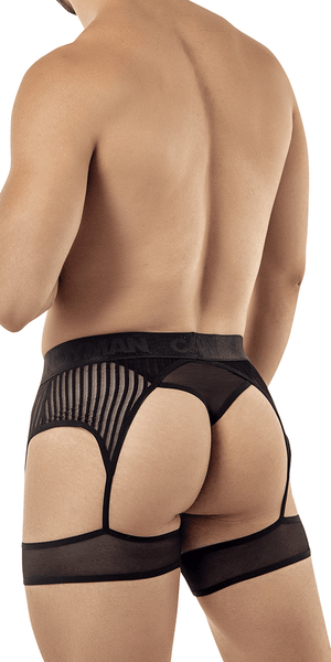 Candyman 99403 Stripes Gaterbelt Thongs Black