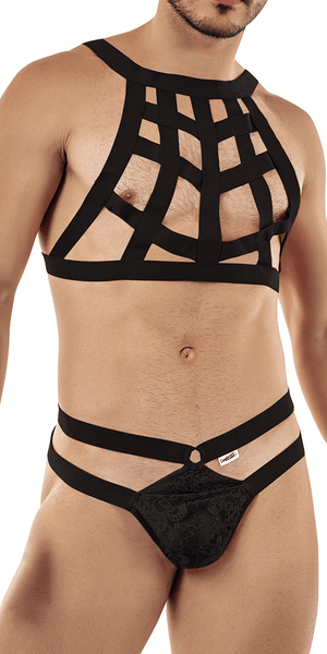 Candyman 99419 Cage Harness Thongs Black