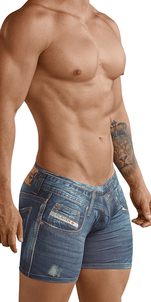 Clever 2201 Microfiber Print Denim Jean Blue Boxer Brief 10""