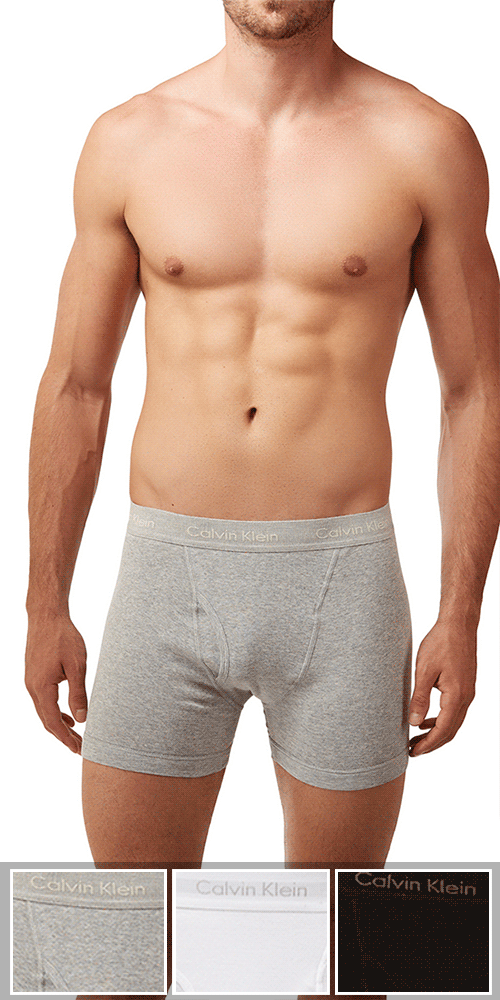 Calvin Klein 3-Pack Boxer Brief Fly Cotton Classics Grey Heather-white-black - Nu3019-900