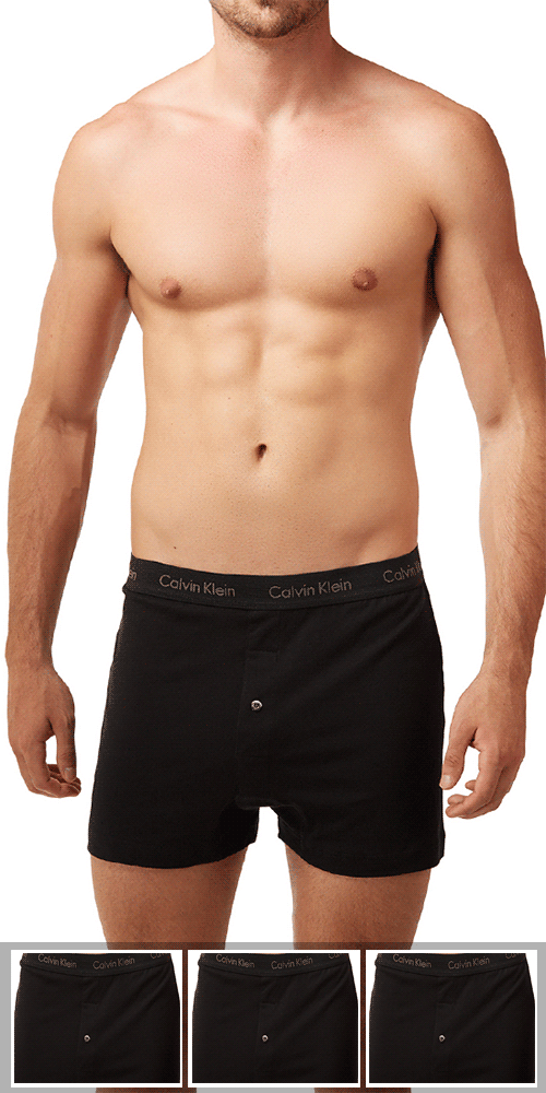 Calvin Klein 3-Pack Boxer Cotton 1 Button Open Fly Classics Knit Black - Nu3040-001