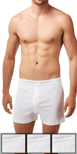 Calvin Klein 3-Pack Boxer Cotton 1 Button Open Fly Classics Knit White - Nu3040-100