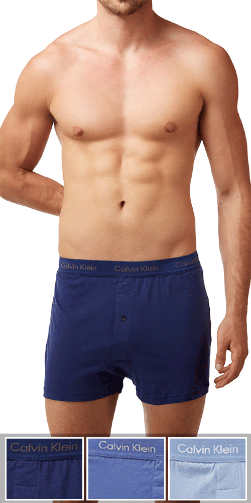 Calvin Klein 3-Pack Boxer Cotton One Button Open Fly Classics Knit Blue-reflection-boardwalk- Nu3040-400
