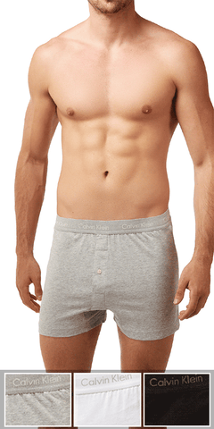 Calvin Klein 3-Pack Boxer Cotton One Button Open Fly Classics Knit Grey Heather-white-black - Nu3040-900