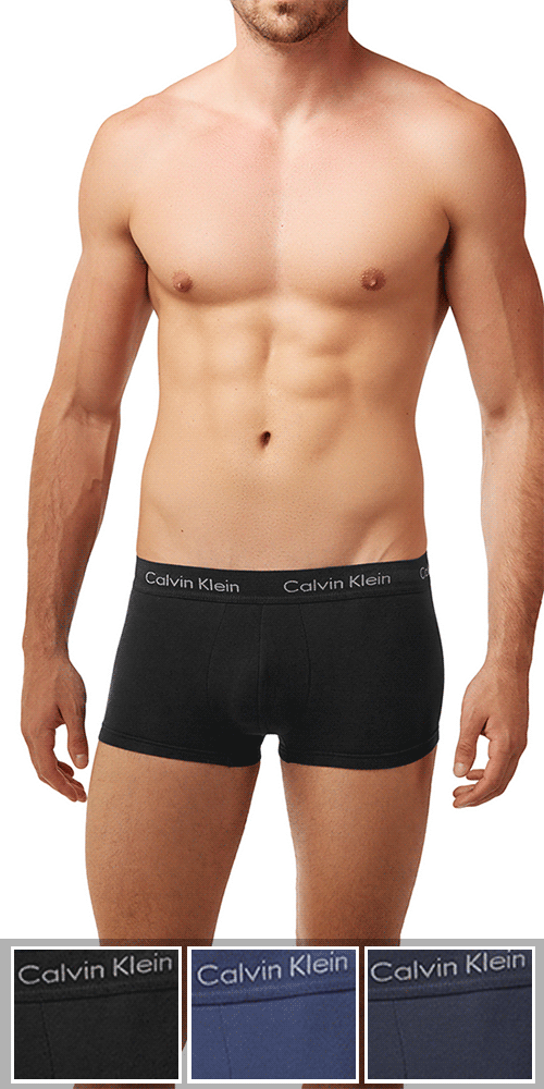 Calvin Klein 3-Pack Trunk Low Rise Cotton Stretch  Black-blue-cobalt - Nu2664-062
