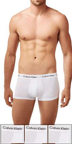 Calvin Klein 3-Pack Trunk Low Rise Cotton Stretch White - Nu2664-100