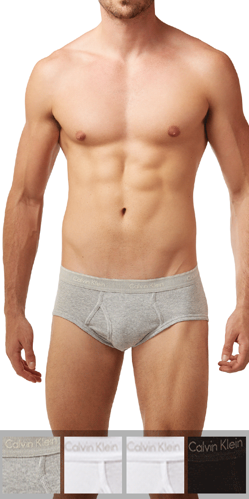 Calvin Klein 4-Pack Brief Fly Classics Cotton 1-Grey Heather-2-White- 1-black - U4000-961