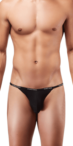 DOREANSE 1330 Ribbed Modal Thong In Black