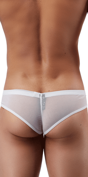 Male Power Pak883 Euro Male Mesh Shirred Pouch Manty Briefs White