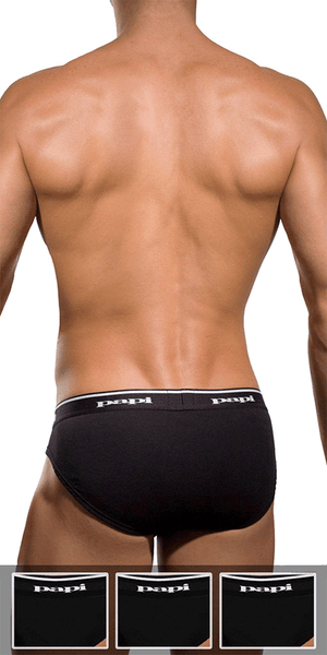 Papi 554101-001 3pk 1x1 Rib Low Rise Brief Black