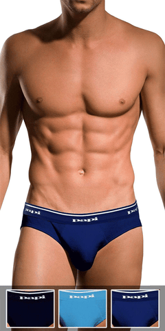 Papi 554101-400 3pk 1x1 Rib Low Rise Brief Light Blue-cobalt-navy