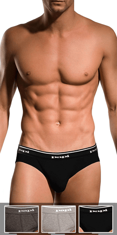 Papi 554101-962 3pk 1x1 Rib Low Rise Brief  Black-charcoal-gray