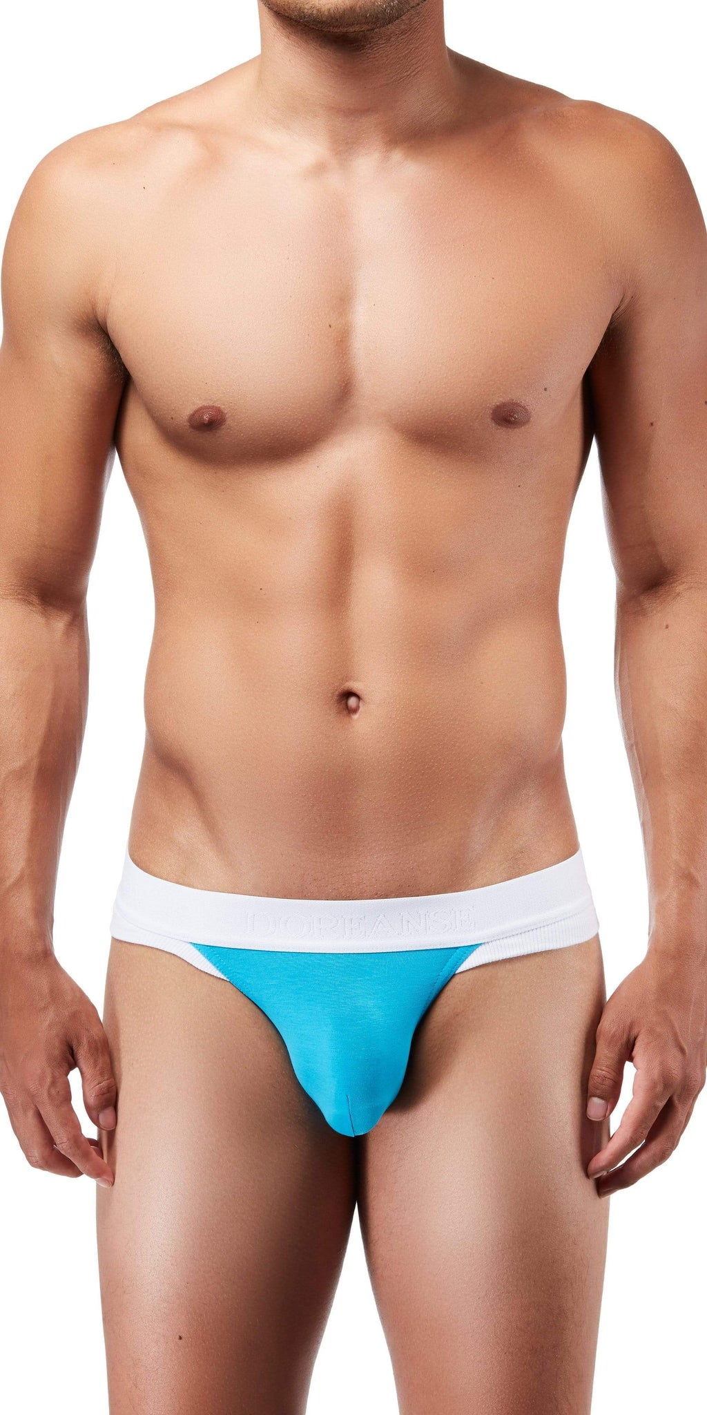 DOREANSE Warrior Thong In White-Turquoise