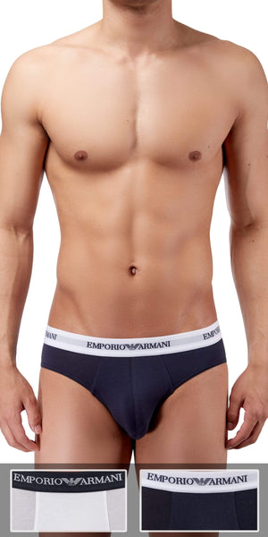 Emporio Armani Brief 2-Pack In White-Marine