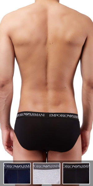Emporio Armani Classic Brief 3-Pack In Gray-Black-Navy