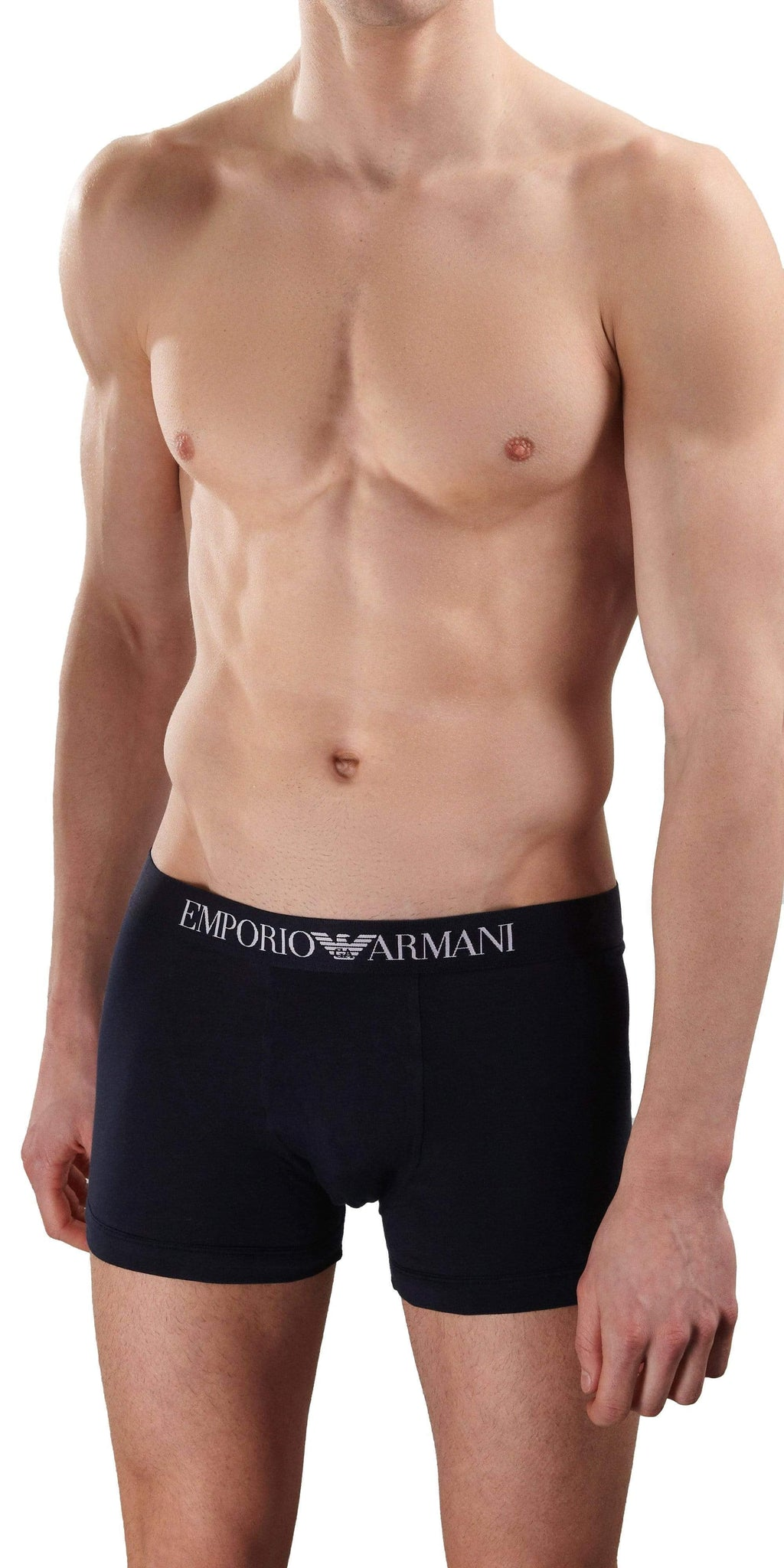 Emporio Armani Cotton Stretch Boxer Brief In Navy
