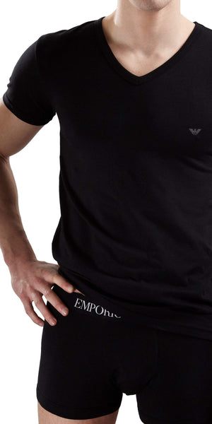 Emporio Armani Cotton Stretch V Neck Shirt In Black