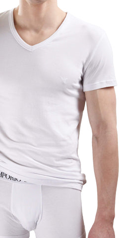 Emporio Armani Cotton Stretch V Neck Shirt In White