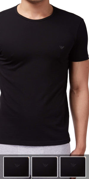 Emporio Armani Crew Neck Undershirt 3-Pack In Black
