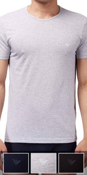 Emporio Armani Crew Neck Undershirt 3-Pack In Gray-Black-Navy