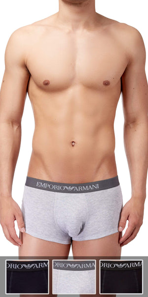 Emporio Armani Trunk 3-Pack In Gray-Black-Navy