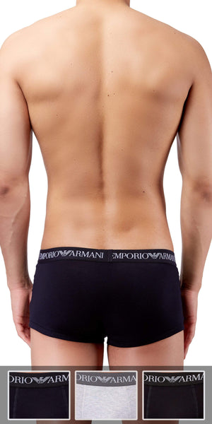 Emporio Armani Trunk 3-Pack In Gray-Black-Navy | Emporio Armani