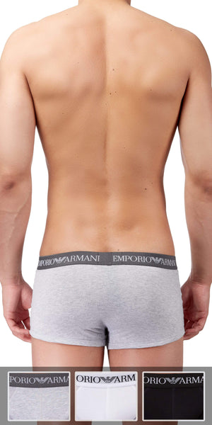 Emporio Armani Trunk 3-Pack In Gray-White-Black