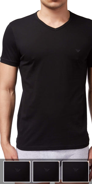 Emporio Armani V Neck Undershirt 3-Pack In Black