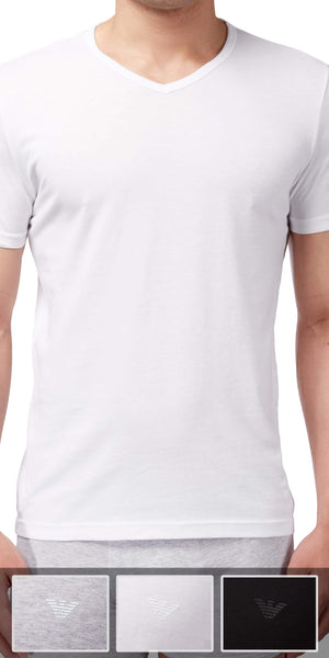 Emporio Armani V Neck Undershirt 3-Pack In Gray-White-Black