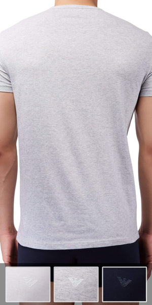 Emporio Armani V Neck Undershirt 3-Pack In Gray-White-Navy