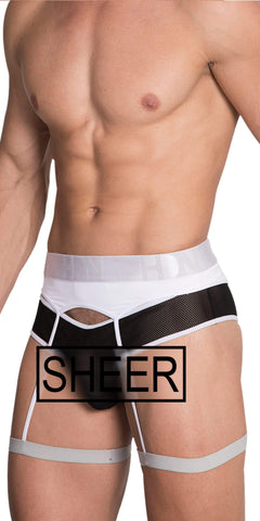 HIDDEN Garterbelt Brief In White