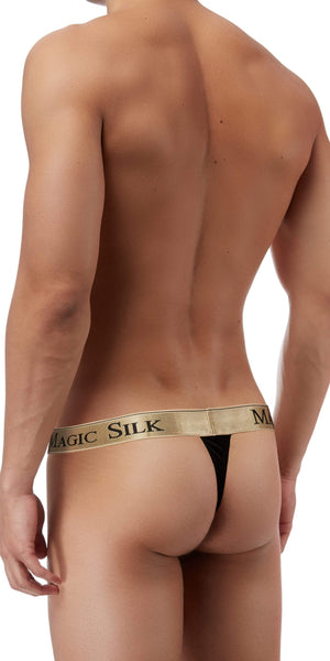 Magic Silk Silk Knit Micro Thong In Black