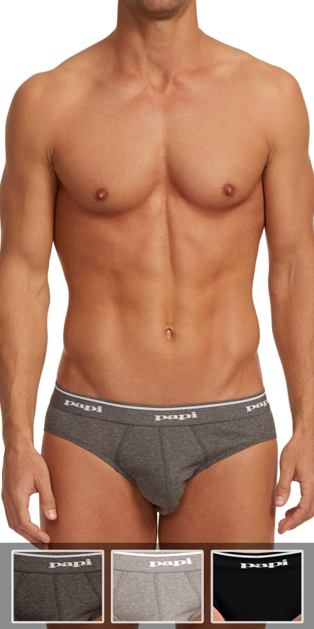 Papi 3-Pack 1X1 Rib Low Rise Brief In Black-Charcoal-Gray