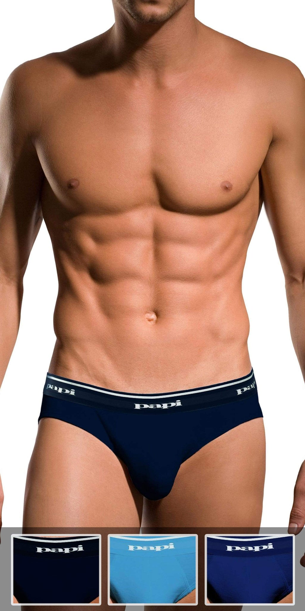 Papi 3-Pack 1X1 Rib Low Rise Brief In Light Blue-Cobalt-Navy