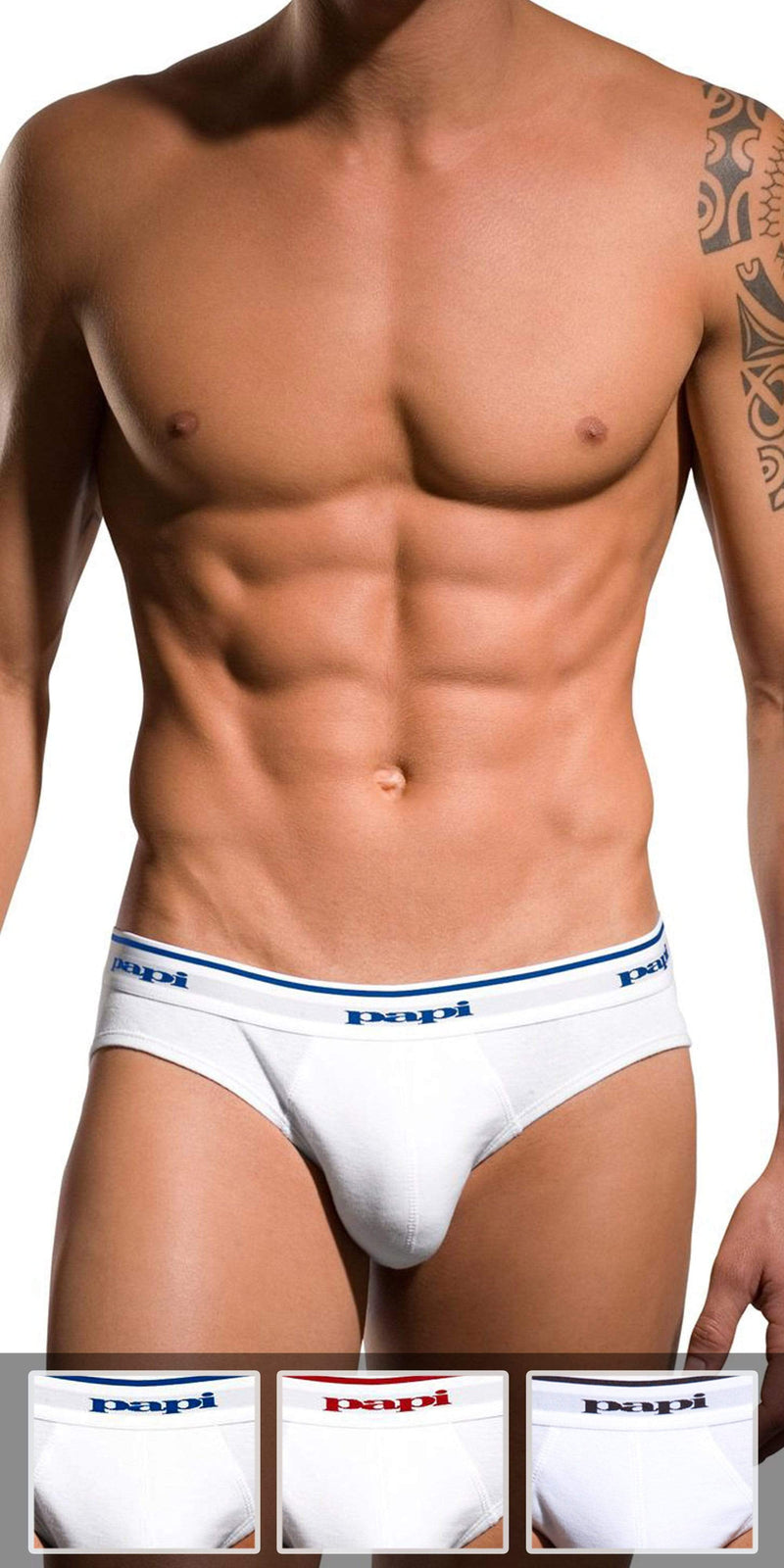 Papi 3-Pack 1X1 Rib Low Rise Brief In White